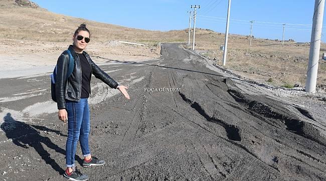 Foça'da yol yapımında cüruf kullanılmasına çevrecilerden tepki