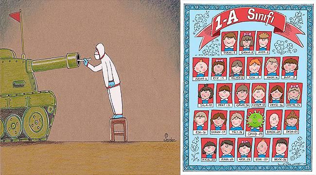 Pandemi karikatürle anlatıldı