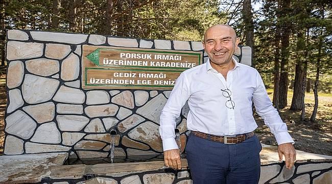 """Başkan Soyer Gediz'in doğduğu Murat Dağı'ndan seslendi: """"Bu hayat kaynağını tahrip etmeye kimsenin hakkı yok"""""""